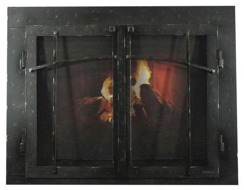"FP Craftsman Iron GL Door w/Gate Mesh, 4"" Frame In HN - 47"" x 35"""