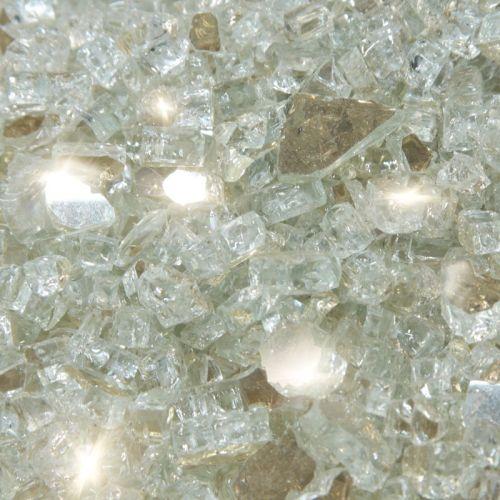 """10 lbs. Broken Style 1/4"""" Platinum Reflective Fire Glass"""