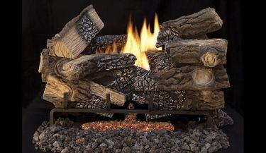 """18"""" Triple Flame Electronic Burner w/Ember Bed - NG- BURNER ONLY"""