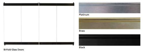 "Superior BD42 Standard Bi-Fold Black Glass Door for 42"" Fireplace"