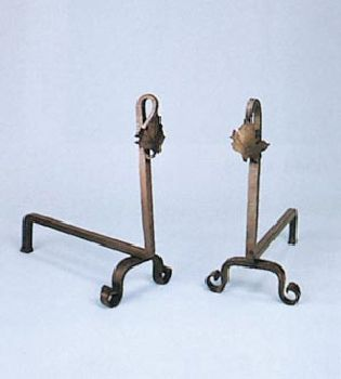 Natural Wrought Iron Blacksmith Maple Leaf Andirons