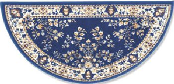 56'' Blue Oriental Virgin Wool Half-Round Rug