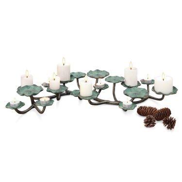 """Spi Home Blossom Pillar Candelabra Aluminum 3.5"""" H x 27.5"""" W x 17"""" D"""