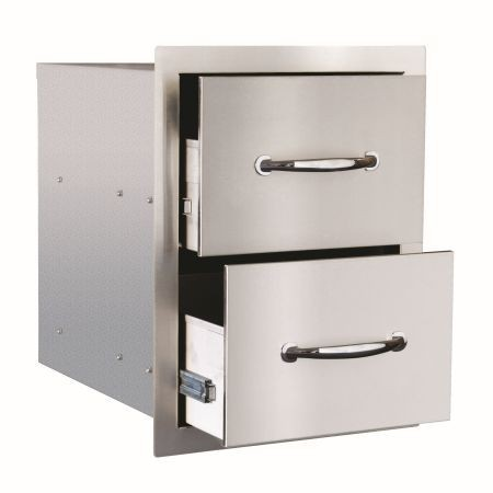 """Summerset 17"""" North American Stainless Steel Double Drawer"""