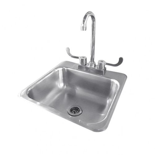 """Summerset Stainless Steel Drop-in Sink with Hot/Cold Faucet - 15""""x15"""""""