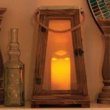 "Newport 15"" H Lantern in natural wood"