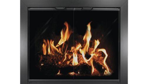 """39"""" x 32"""" Chalet Powder Coated Aluminum Fireplace Door - Black"""