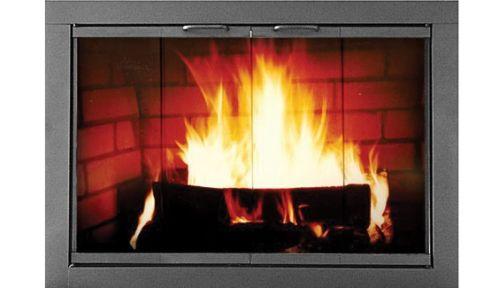 """34.5"""" x 27.62"""" Heritage Welded Steel Fireplace Door - Textured Black"""