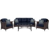 Hanover GRAMERCY4PC-NVY Gramercy 4-Piece Seating Set in Navy Blue