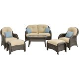 Hanover NEWPORT6PC Newport 6-Piece Woven Seating Set in Cream