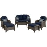 Hanover NEWPORT6PC-NVY Newport 6-Piece Woven Seating Set in Navy Blue