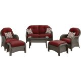 Newport 6-Piece Woven Seating Set in Crimson Red