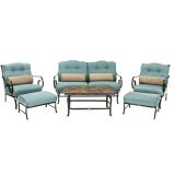 Oceana 6-Piece Patio Set in Ocean Blue with a Stone-top Coffee Table