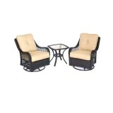 Orleans 3-Piece Swivel Gliding Chat Set in Sahara Sand