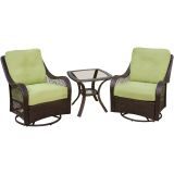 Orleans 3-Piece Swivel Gliding Chat Set in Avocado Green