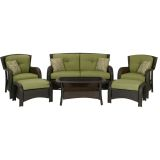 Hanover STRATHMERE6PC Strathmere 6-Piece Lounge Set in Cilantro Green
