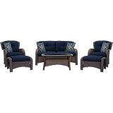 Hanover STRATHMERE6PCNVY Strathmere 6-Piece Lounge Set in Navy Blue