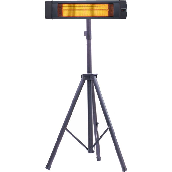 "Hanover 34.6"" Electric Carbon Infrared Heat Lamp w/Tripod Stand, Black"