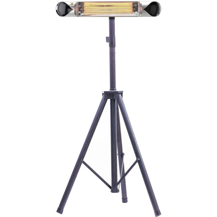 "35.4"" Electric Carbon Infrared Heat Lamp w/Tripod Stand - Silver"