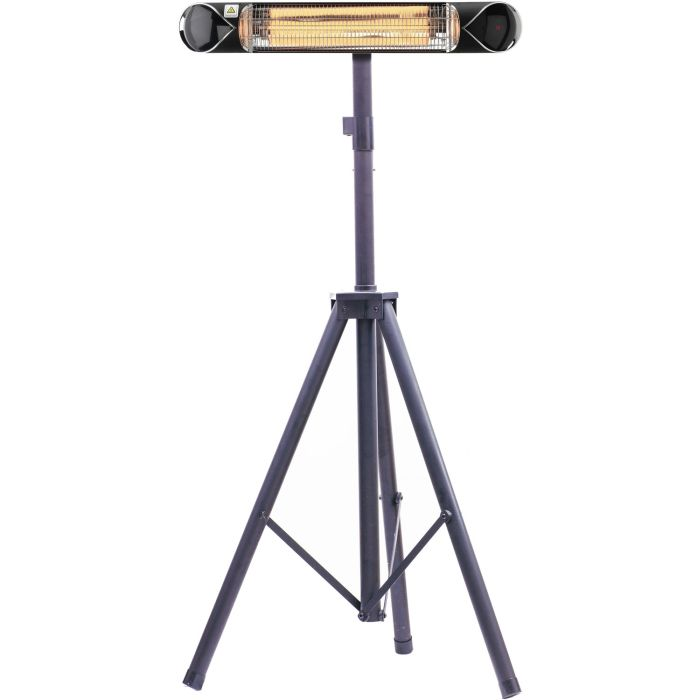 "Hanover 35.4"" Electric Carbon Infrared Heat Lamp w/Tripod Stand, Black"