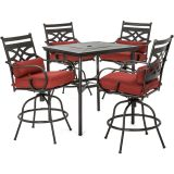 Montclair 5-Piece High-Dining Patio Set-Chili Red