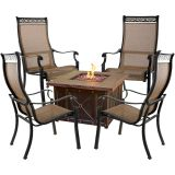 Monaco 5-Piece Fire Pit Chat Set with Fire Pit Coffee Table