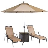 Monaco 4-Piece Lounge Set with 2 Sling Chaise Lounge Chairs