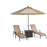Monaco 4-Piece Lounge Set with Square Slat-Top Side Table