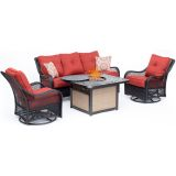 Orleans 4-Piece Woven Lounge Set in Autumn Berry with Fire Pit Table