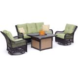 Orleans 4-Piece Woven Lounge Set in Avocado Green with Fire Pit Table