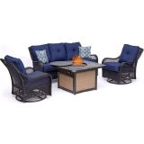 Orleans 4-Piece Woven Lounge Set in Navy Blue with Fire Pit Table