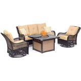 Orleans 4-Piece Lounge Set in Sahara Sand with Cast-Top Fire Pit Table