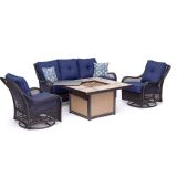 Orleans 4-Piece Woven Lounge Set in Navy Blue