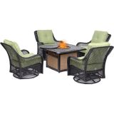 Orleans 5-Piece Fire Pit Chat Set-Avocado Green