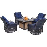 Orleans 5-Piece Fire Pit Chat Set-Navy Blue