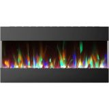 42 In. Recessed Wall Mounted Electric Fireplace with Crystal and LED Color Changing Display, Black