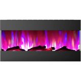 42 In. Recessed Wall Mounted Electric Fireplace with Logs and LED Color Changing Display, Black