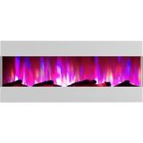 50 In. Recessed Wall Mounted Electric Fireplace with Logs and LED Color Changing Display, White