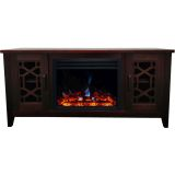56-in. Stardust Mid-Century Modern Electric Fireplace with Deep Multi-Color Log Insert, Mahogany