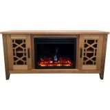 56-in. Stardust Mid-Century Modern Electric Fireplace with Deep Multi-Color Log Insert, Natural Wood