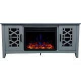 56-in. Stardust Mid-Century Modern Electric Fireplace with Deep Multi-Color Log Insert, Slate Blue