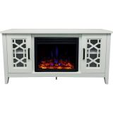 56-in. Stardust Mid-Century Modern Electric Fireplace with Deep Multi-Color Log Insert, White