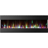 60 In. Recessed Wall Mounted Electric Fireplace with Crystal and LED Color Changing Display, Black