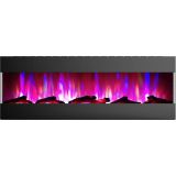 60 In. Recessed Wall Mounted Electric Fireplace with Logs and LED Color Changing Display, Black