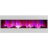 60 In. Recessed Wall Mounted Electric Fireplace with Logs and LED Color Changing Display, White