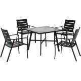 5-Piece Patio Dining Set with 4 Aluminum Dining Chairs and a Table