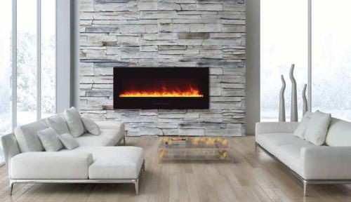 """50"""" Electric Fireplace with Black Glass Surround and Clear Media"""