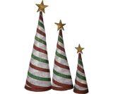 Set of 3 Glittering Snowflake Fabric Lantern Cone Trees - Peppermint