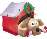 Animated Dog in Presents with Candy Cane Bone