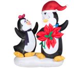 Animated Penguin Couple with Poinsettia Flower